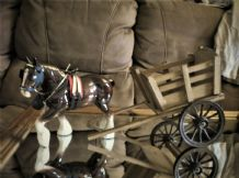 "VINTAGE 8.5"" CHINA SHIRE HORSE WITH GOOD SIZE WOODEN CART TURNING WHEELS"